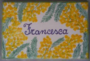 Piastrella bombonirera dipinta con mimosa