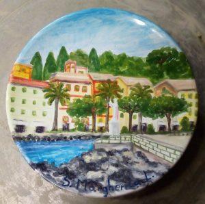 Piatto dipinto a mano diametro cm 15