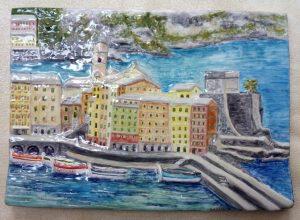Camogli, veduta  del porto in ceramica