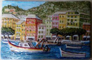 Ceramica con pescherecci di santa Margherita Ligure
