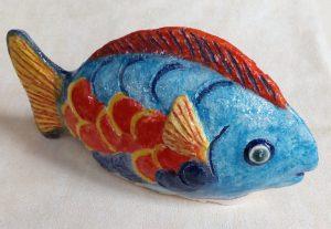 Pesce tutto tondo in ceramica