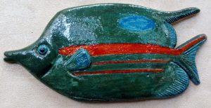 Pesce da muro in ceramica smaltata