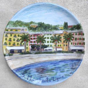 piatti con vedute dipinti a mano