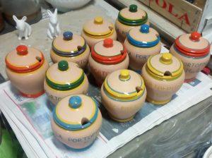 Vasetti in ceramica con coperchio