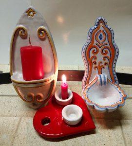 Porta-candele e acquasantiera