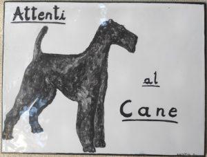 Piasrella attenti al cane dipinta a mano