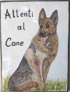 Piastrella dipinta a mano con cane Pastore tedesco