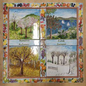 Ceramica quadro con le quattro stagioni