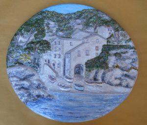 Rilievo ovale ceramica policroma