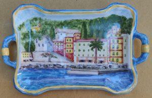 vassoio in ceramica con paesaggio