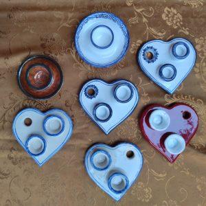 Porta-candele a cuore in ceramica