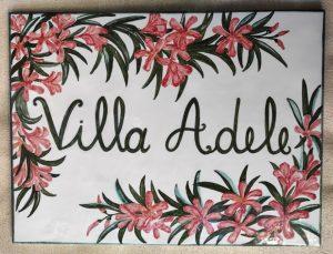 Piastrella dipinta a mano per villa con oleandro