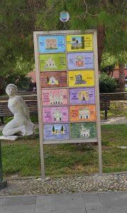 Cartello in ceramica di indicazione turistica