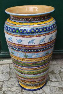 Portaombrelli in ceramica decorato amano