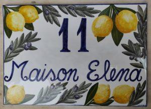 Targa con limoni in ceramica