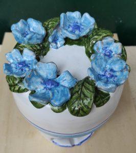 Diffusore in ceramica artigianale con fiori, idea regalo Pasqua