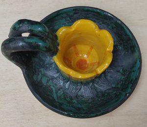 Porta-candela a bugia in ceramica
