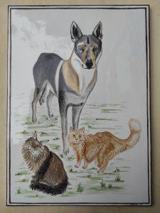 Piastrella ingresso con cane e gatti