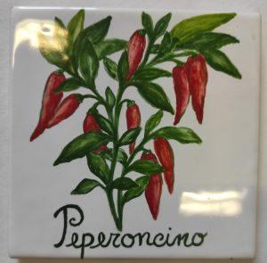 Peperoncino dipinto su piastrella